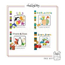cut out board books – 123, inside, shapes, zoom